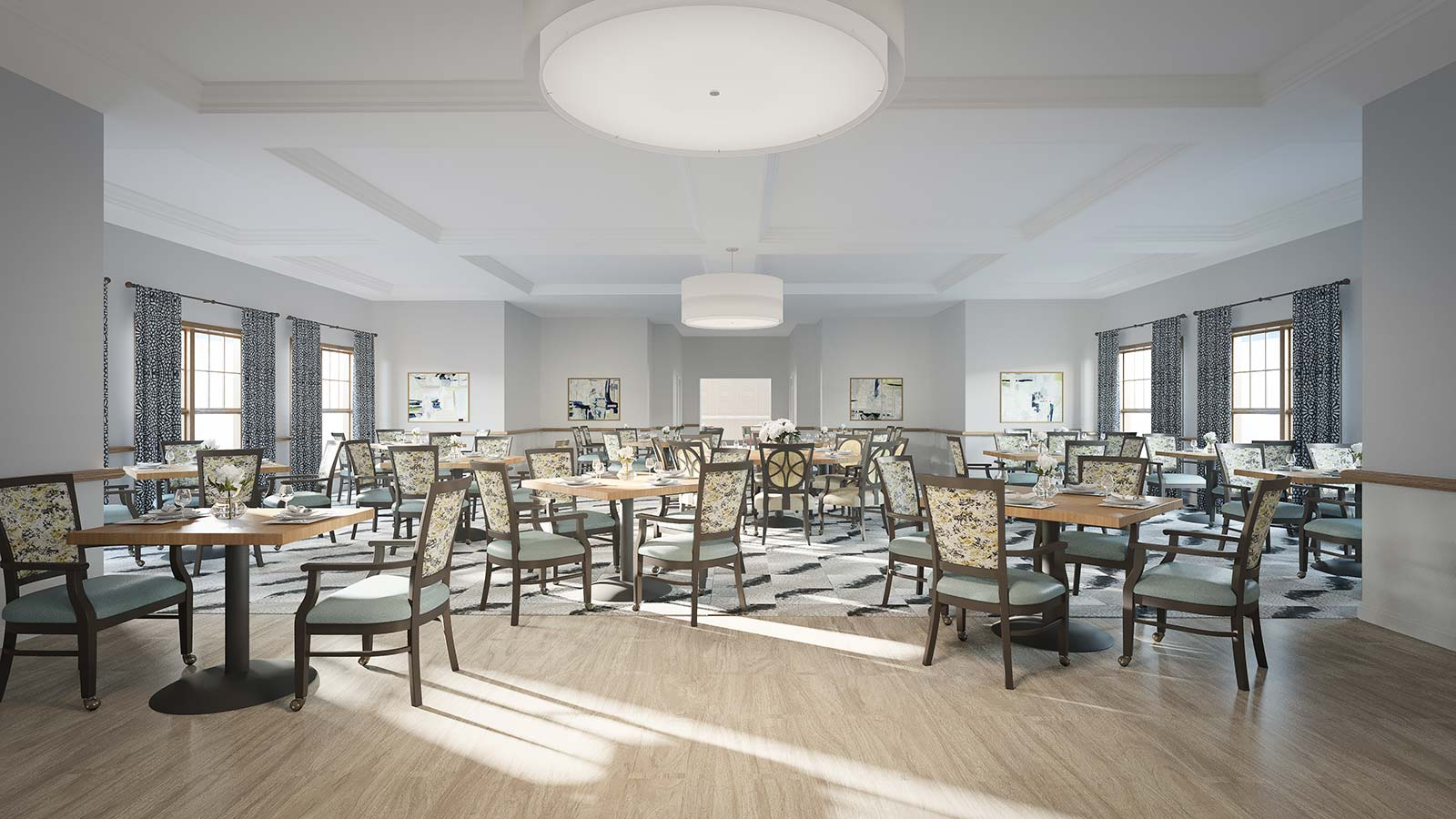 Rendering Of Assisted Living And Memory Care Dining Hall At Bay Port Of Fort Walton Beach